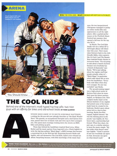 The Cool Kids, Chicago Magazine